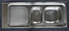 FRANKE Auflage-Spüle Doppelbecken 130 x 50 cm Edelstahl Becken Rechts