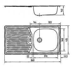 RIEBER E86K Spüle Küchenspüle Einbauspüle Schwarz B-R 86 x 43,5 cm