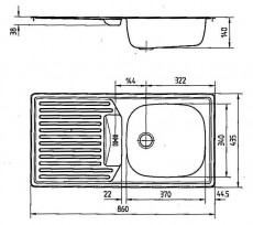 RIEBER E86RK Spüle Einbauspüle Küchenspüle MANHATTAN GRAU 86 x 43,5 cm