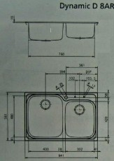SUTER KWC Dynamic D8 Edelstahl Doppelbecken-Spüle 84x56x20 cm