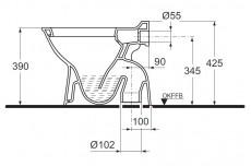 IDEAL STANDARD Esprit Stand-WC Manhattan Grau Abgang innen senkrecht zum Boden