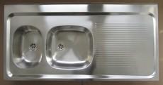 RIEBER Auflage-Spüle 120 x 60 cm Edelstahl Becken-Links