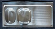 RIEBER Auflagespüle 120x60 cm Becken-Links in Edelstahl