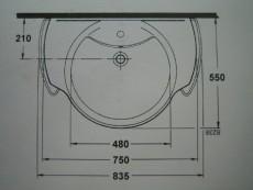 IDEAL STANDARD Waschbecken Waschtisch Bajade MANHATTAN-GRAU 75 x 55 cm