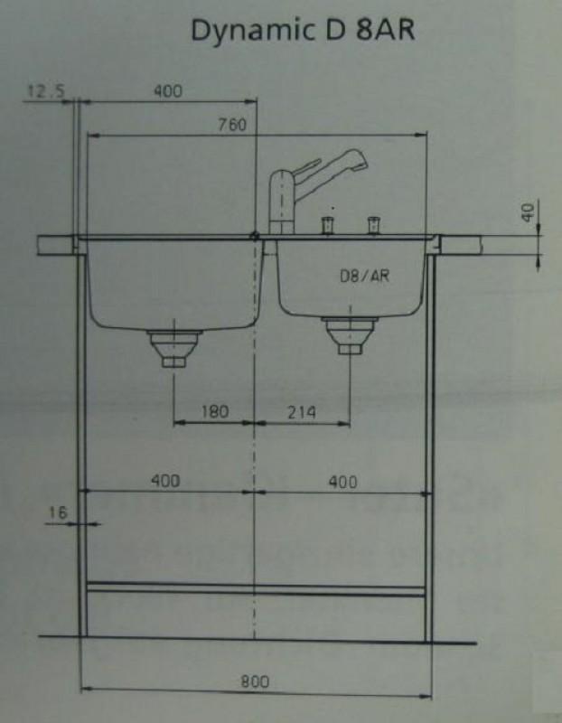 suter dynamic d8 edelstahl doppelbecken sp le 84 x 56 x 25 cm spuelen. Black Bedroom Furniture Sets. Home Design Ideas