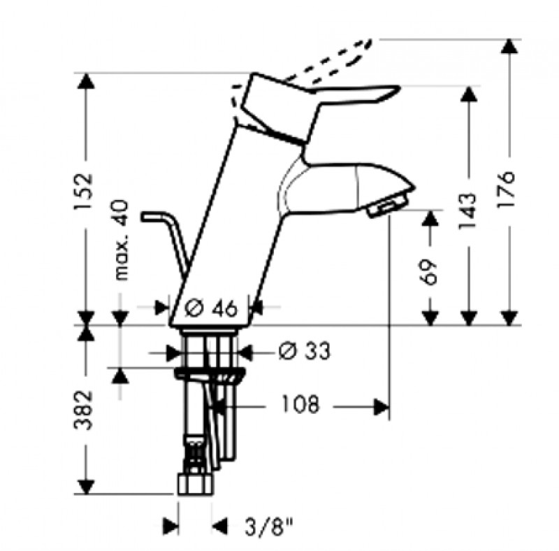 hansgrohe focus s waschtisch armatur waschbeckenarmatur 31701 spuelen. Black Bedroom Furniture Sets. Home Design Ideas