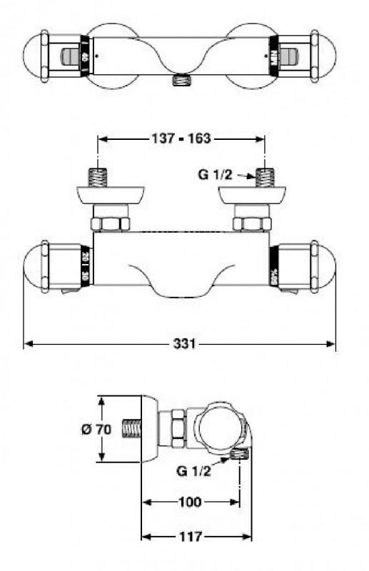 ideal standard thermostat duscharmatur ceratop chrom edelmessing spuelen. Black Bedroom Furniture Sets. Home Design Ideas