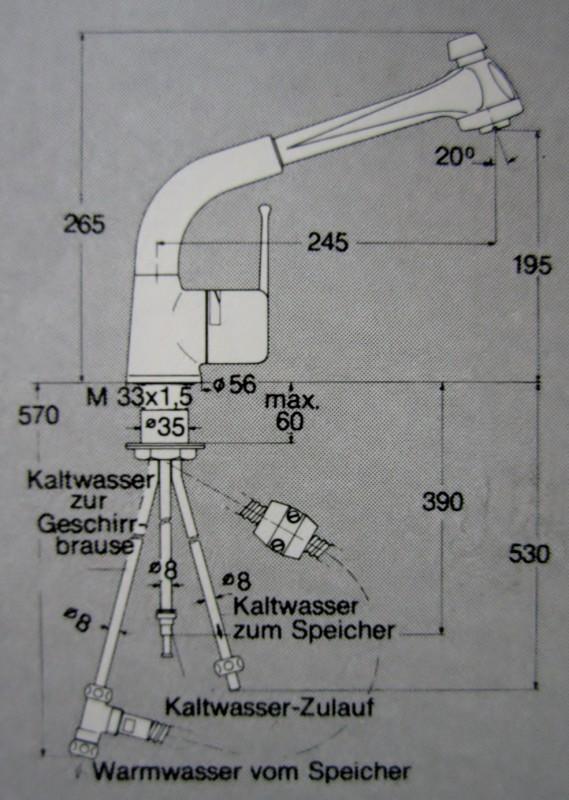 KURI Küchenarmatur Armatur Spültischarmatur mit Brause Niederdruck ...