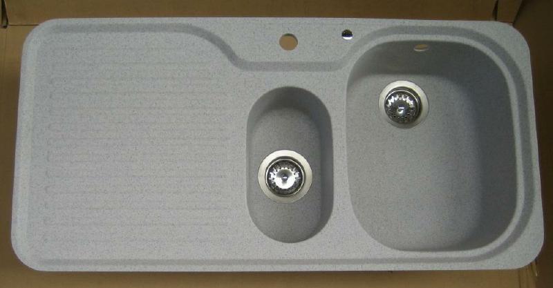 Spülbecken granit grau  SUTER C-100 flächenbündige Spüle 98 x 48 cm Montana-Grau-Granit ...