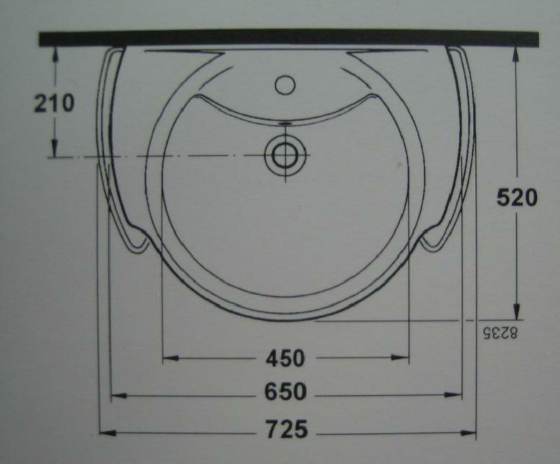 IDEAL STANDARD Waschbecken Waschtisch Bajade MANHATTAN-GRAU 65cm ... | {Waschbecken maße standard 98}