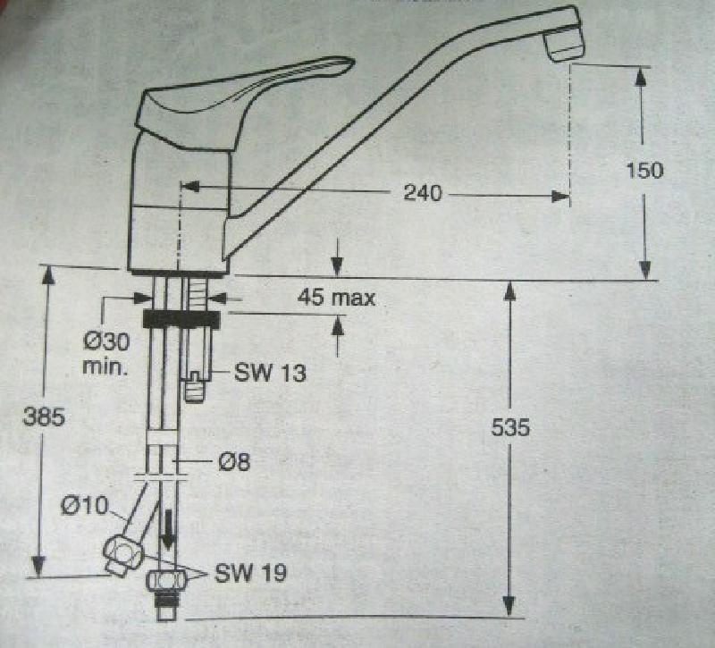 IDEAL STANDARD Comfort Küchenarmatur Armatur Weiss NIEDERDRUCK ...