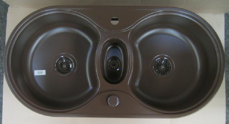 teka premiere 2 doppelbecken sp le braun matt 96x48 5 cm. Black Bedroom Furniture Sets. Home Design Ideas