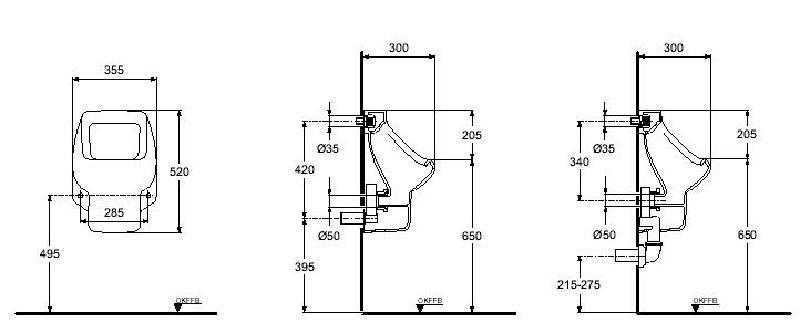 ideal standard urinal pissoir penta pergamon zulauf von hinten spuelen. Black Bedroom Furniture Sets. Home Design Ideas
