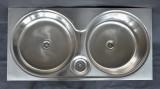 RIEBER Doppelbecken Spüle Einbauspüle Küchenspüle 86 x 43 cm Rundbecken LEINEN