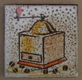 MOSA 1357 Wandfliese handbemalte antike Küchenfliese Landhaus Art mit Kaffeemühle Motiv 10x10 cm