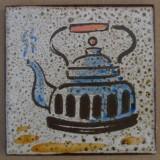 MOSA 1355 Wandfliese handbemalte antike Küchenfliese Landhaus Art mit Teekanne Kessel Motiv 10x10 cm