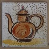 MOSA 1356 Wandfliese handbemalte antike Küchenfliese Landhaus Art mit Teekanne Motiv 10x10 cm