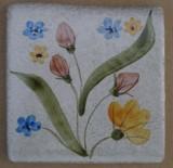 MOSA 1308 Wandfliese handbemalte antike Fliese mit Blumen Motiv 10x10 cm