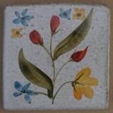 MOSA #11 Wandfliese handbemalte antike Fliese mit Blumen Motiv 10x10 cm