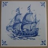 MOSA 4082 Fliese Dekorfliese Delter Delft Art Schiff 10,8x10,8 cm Weiss Blau