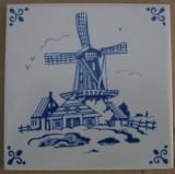 MOSA 4081 Fliese Dekorfliese Delter Delft Art Windmühle 10,8x10,8 cm Weiss Blau