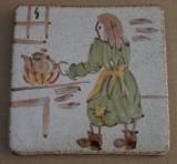 MOSA 1312 Wandfliese handbemalte antike Fliese mit Frau mit Teekanne Motiv 10x10 cm