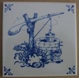 MOSA 4083 Fliese Dekorfliese Delter Delft Art Brunnen 10,8x10,8 cm Weiss Blau