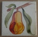 MOSA 1361 Wandfliese handbemalte antike Küchenfliese Landhaus Art mit Birne Motiv 10x10 cm