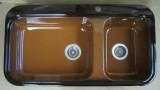 ALAPE Doppelbecken-Spüle 124 BRAZIL-BRAUN 92x50,5 cm