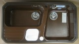 BLANCO Primo-Box/2 Doppelbecken-Spüle mit Abfallsystem Maron-Braun 92x51 cm