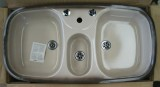 RIEBER Samba/2 kitchen double bowl sink platin-brown 96 x 50 cm