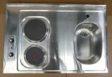 RIEBER Pantry-Spüle 90x60 cm Edelstahl mit Kochplatten B-R